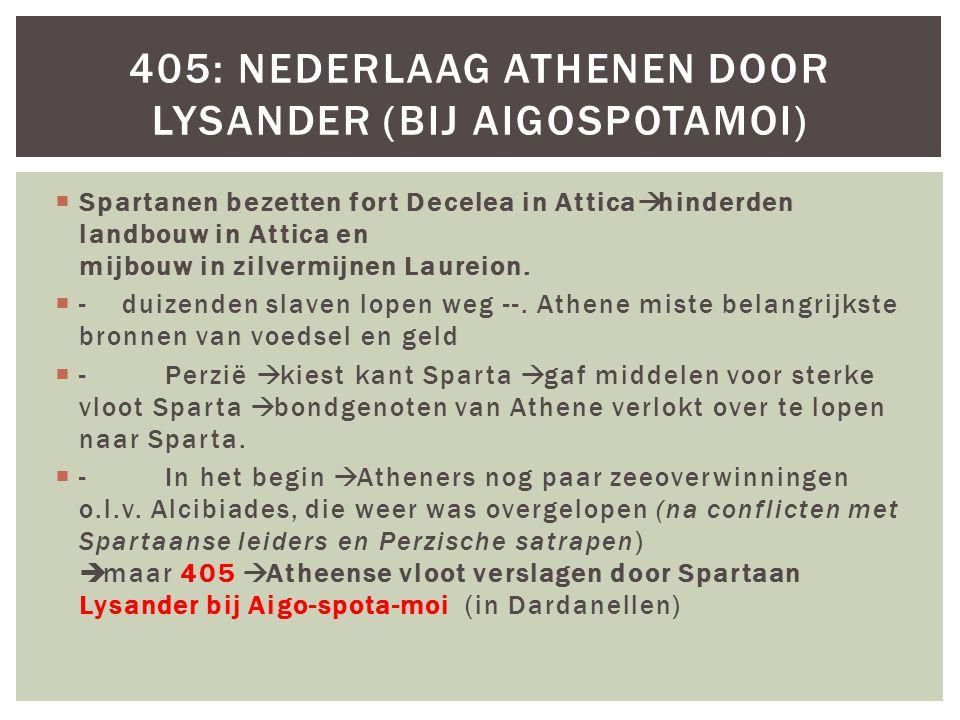 405: Nederlaag Athenen door Lysander (bij Aigospotamoi)