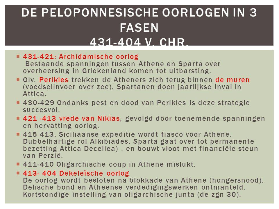 De Peloponnesische oorlogen in 3 fasen 431-404 v. Chr.