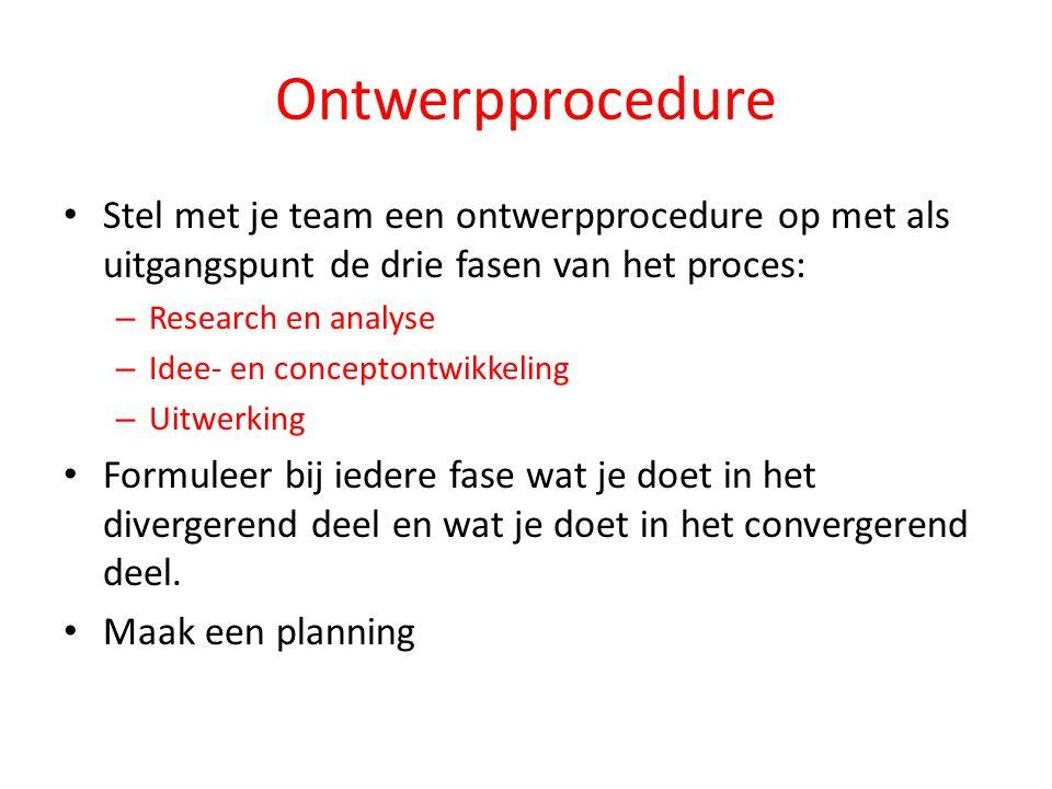 Ontwerpprocedure Stel met je team een ontwerpprocedure op met als uitgangspunt de drie fasen van het proces: