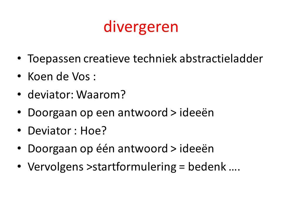 divergeren Toepassen creatieve techniek abstractieladder Koen de Vos :