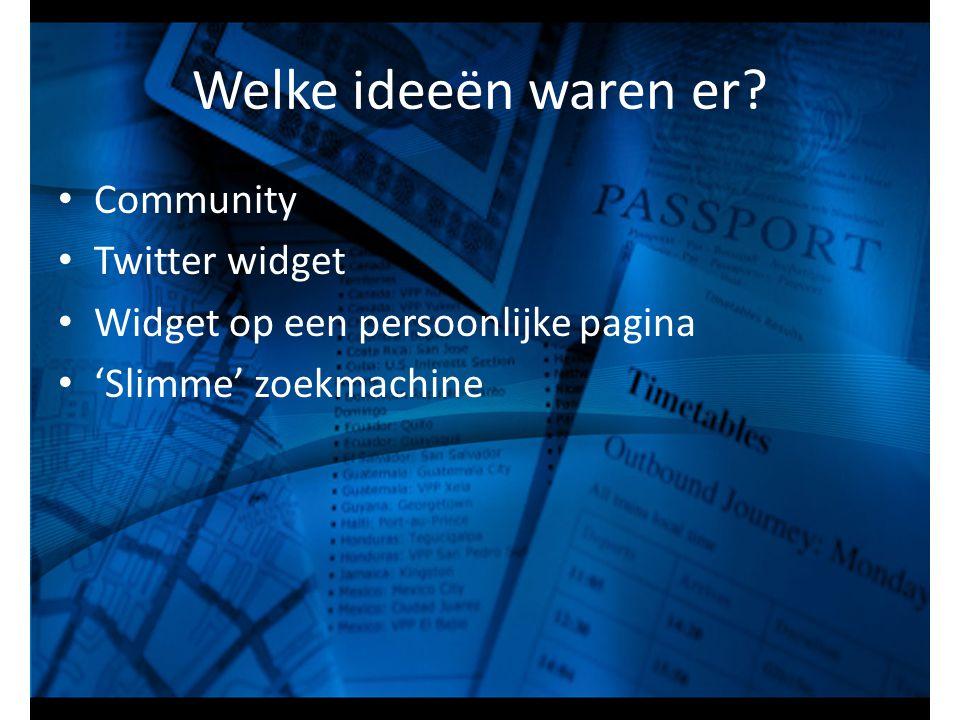 Welke ideeën waren er Community Twitter widget