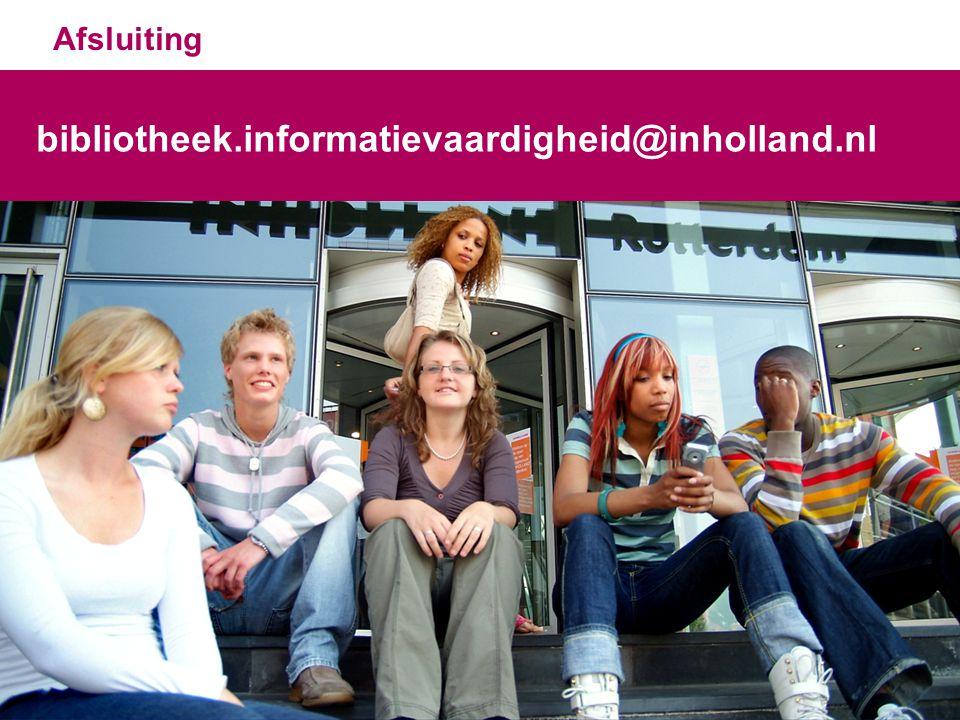Afsluiting bibliotheek.informatievaardigheid@inholland.nl