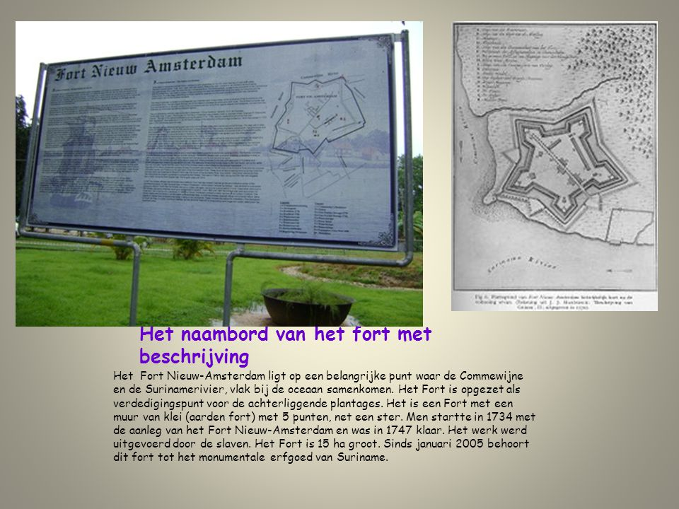 Het naambord van het fort met beschrijving