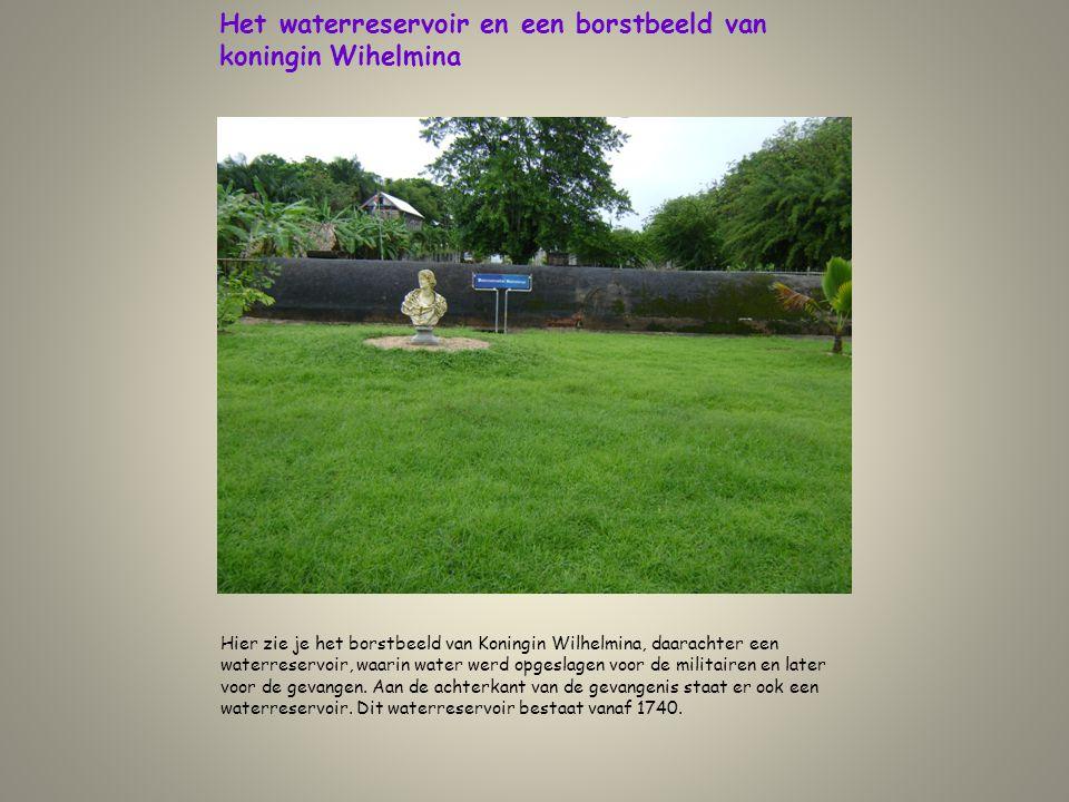 Het waterreservoir en een borstbeeld van koningin Wihelmina
