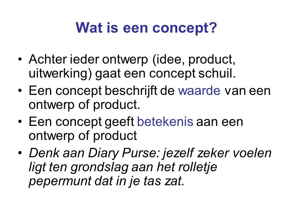 Wat is een concept Achter ieder ontwerp (idee, product, uitwerking) gaat een concept schuil.