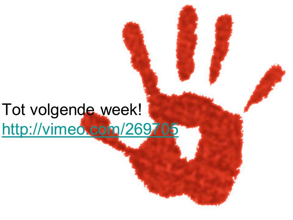 Tot volgende week! http://vimeo.com/269705