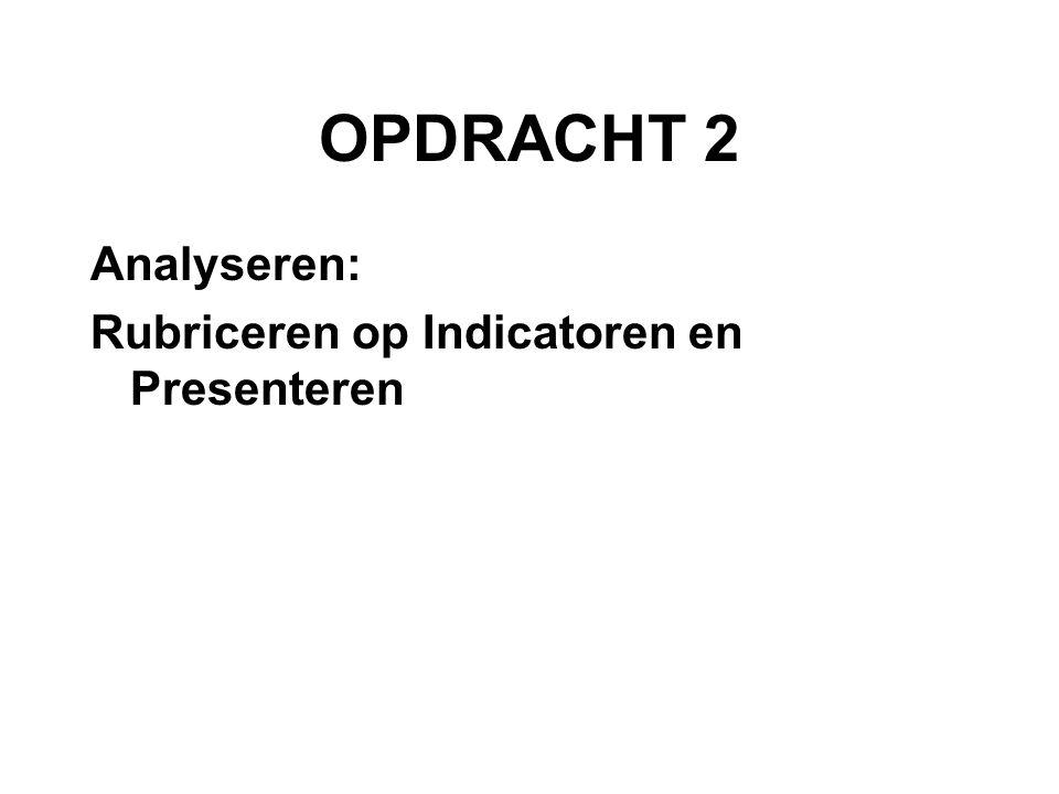 OPDRACHT 2 Analyseren: Rubriceren op Indicatoren en Presenteren