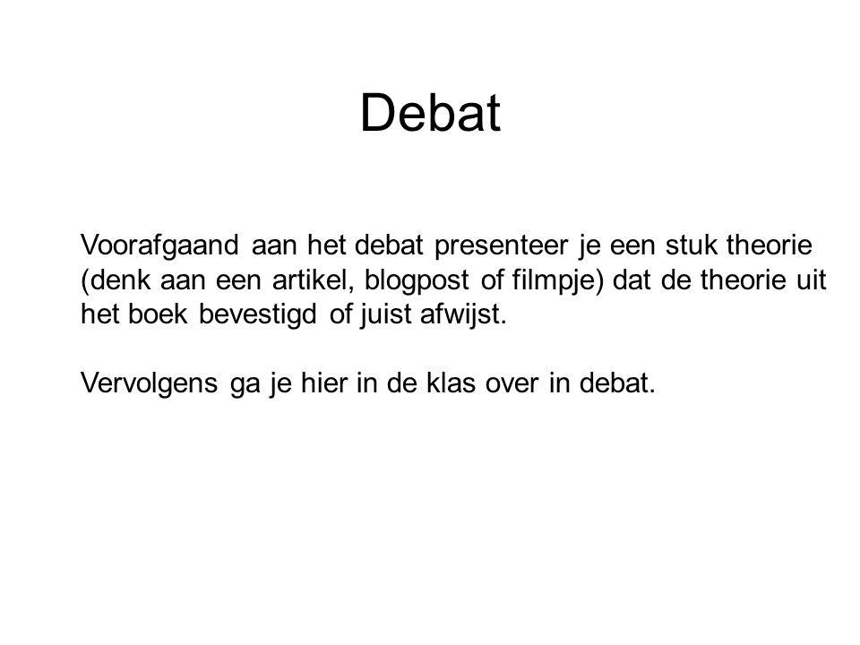 Debat Voorafgaand aan het debat presenteer je een stuk theorie