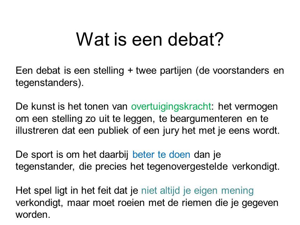 Wat is een debat Een debat is een stelling + twee partijen (de voorstanders en. tegenstanders).