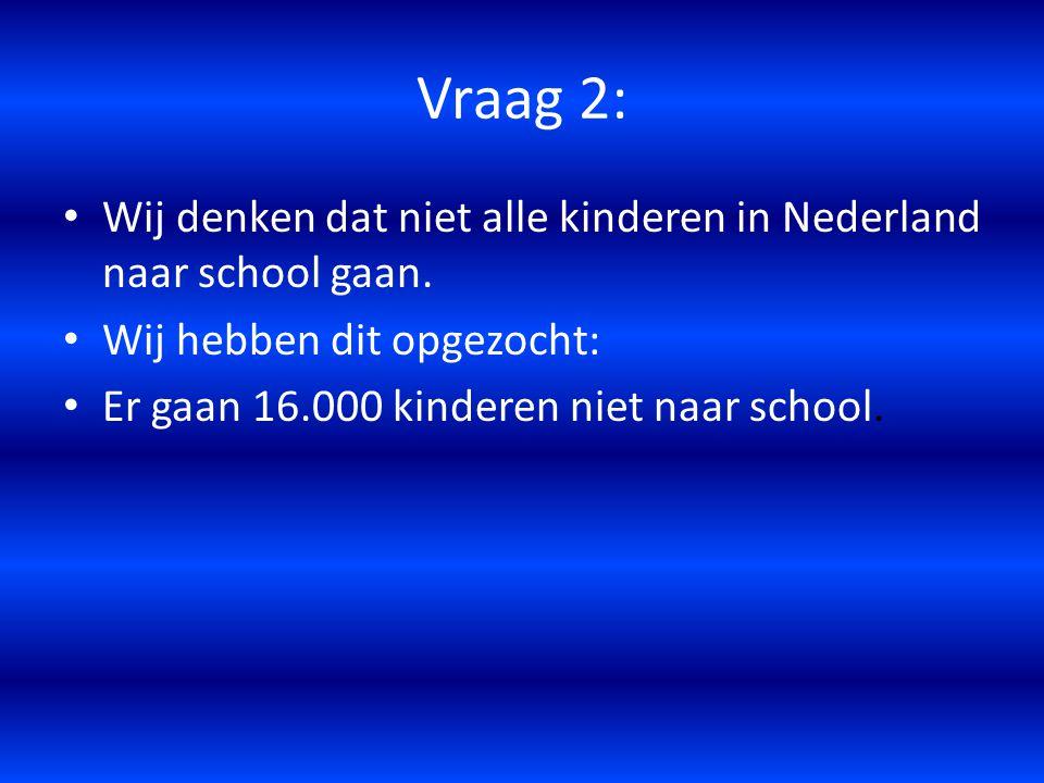 Vraag 2: Wij denken dat niet alle kinderen in Nederland naar school gaan. Wij hebben dit opgezocht: