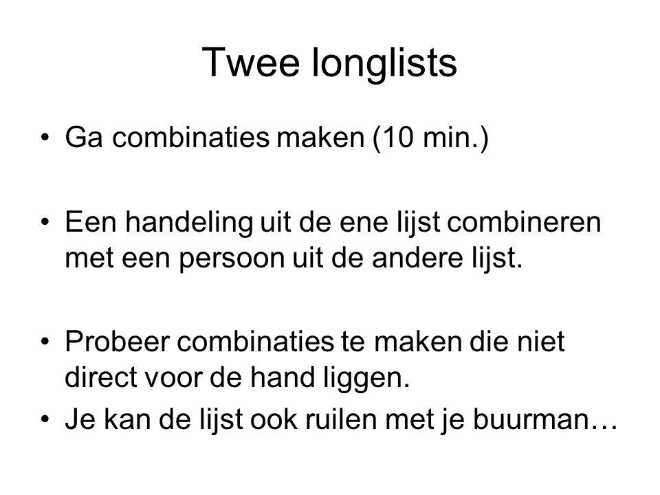 Twee longlists Ga combinaties maken (10 min.)