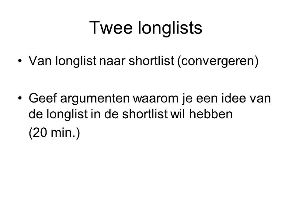 Twee longlists Van longlist naar shortlist (convergeren)