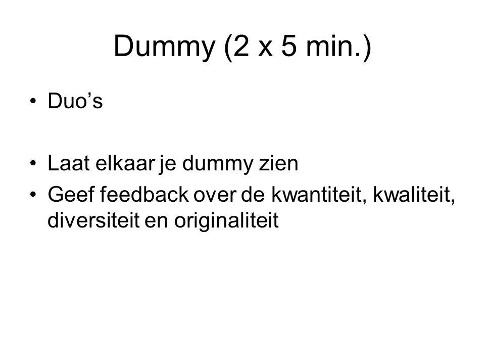 Dummy (2 x 5 min.) Duo's Laat elkaar je dummy zien