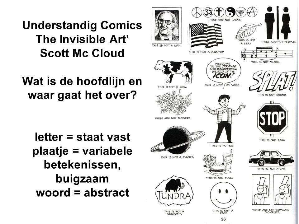 Understandig Comics The Invisible Art' Scott Mc Cloud Wat is de hoofdlijn en waar gaat het over.