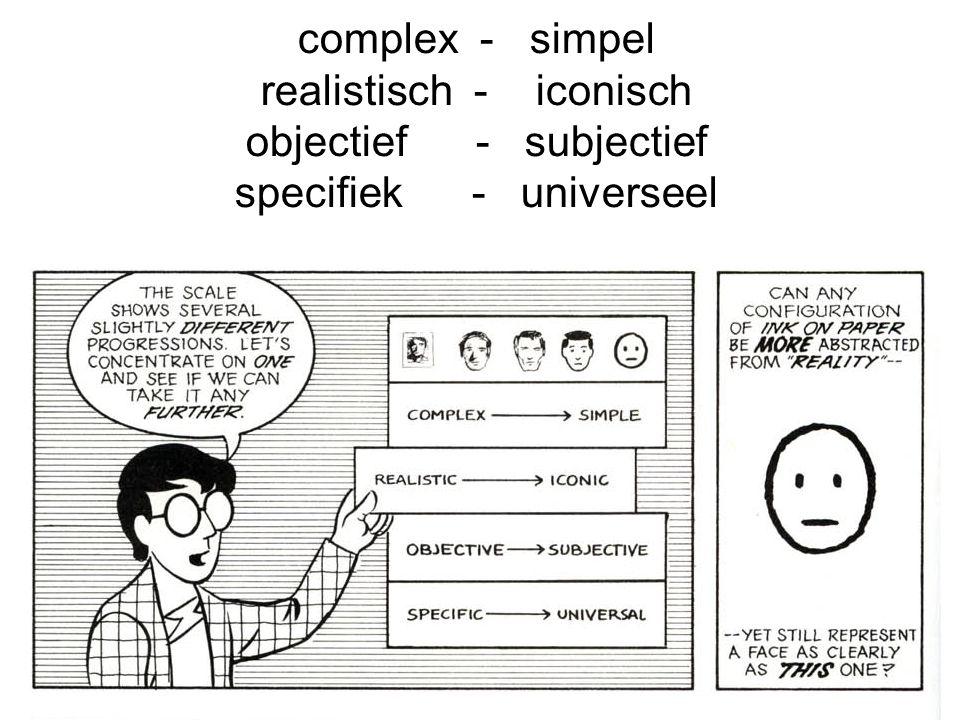 realistisch - iconisch objectief - subjectief specifiek - universeel