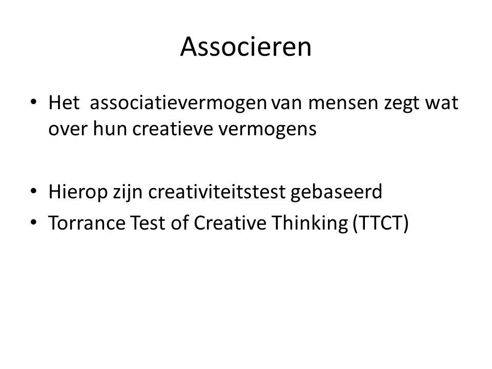Associeren Het associatievermogen van mensen zegt wat over hun creatieve vermogens. Hierop zijn creativiteitstest gebaseerd.