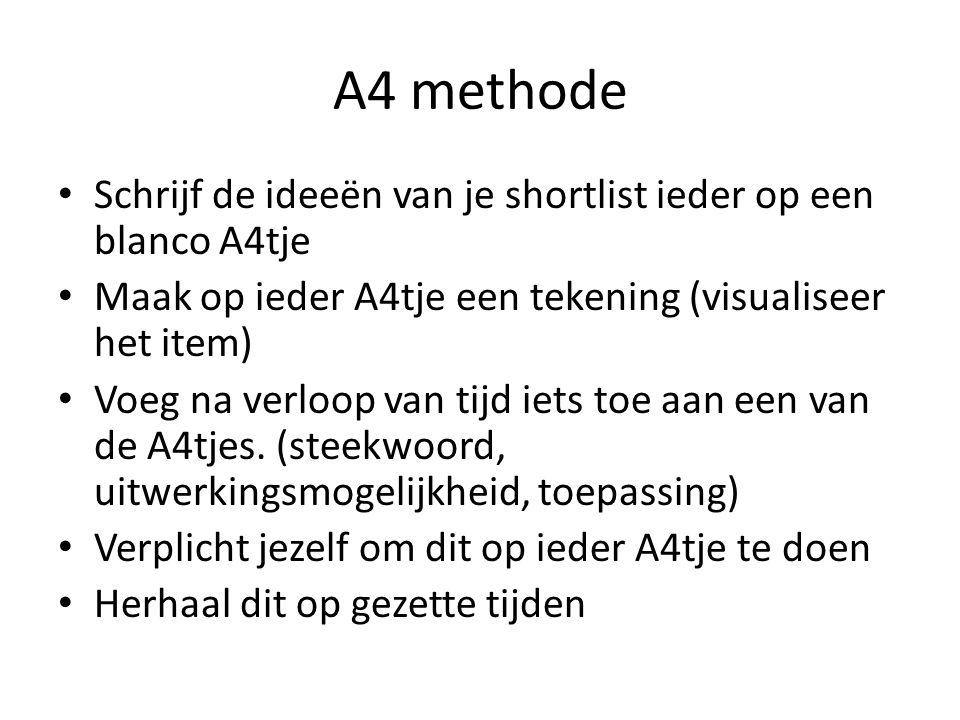 A4 methode Schrijf de ideeën van je shortlist ieder op een blanco A4tje. Maak op ieder A4tje een tekening (visualiseer het item)