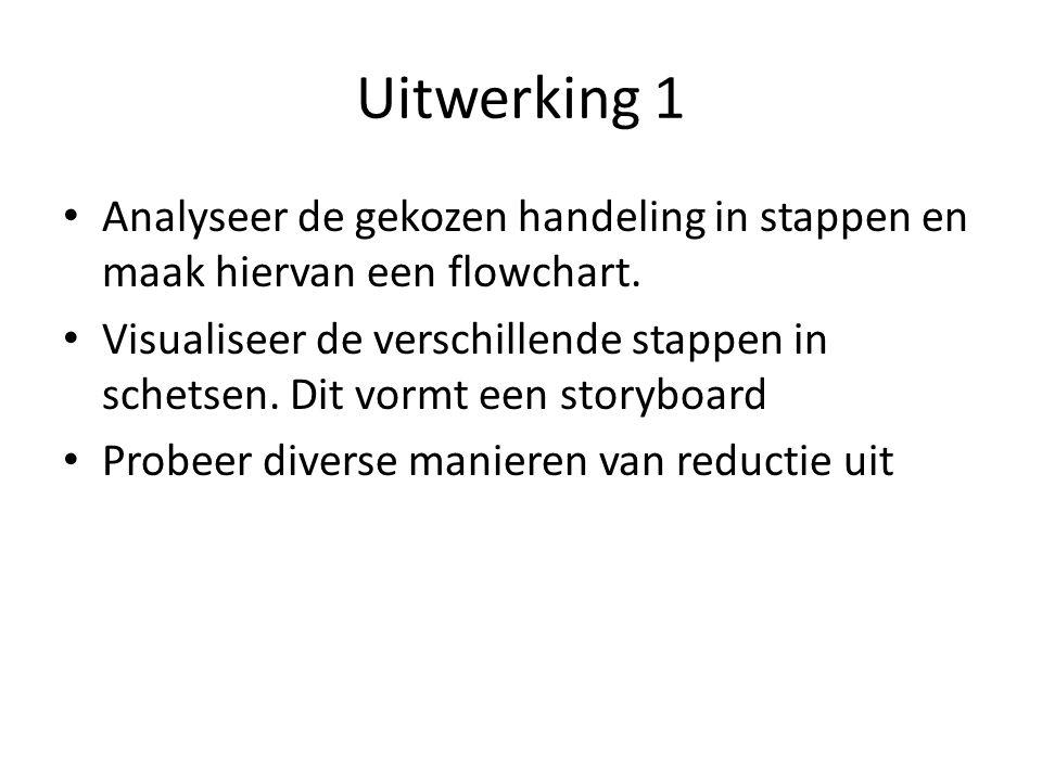 Uitwerking 1 Analyseer de gekozen handeling in stappen en maak hiervan een flowchart.
