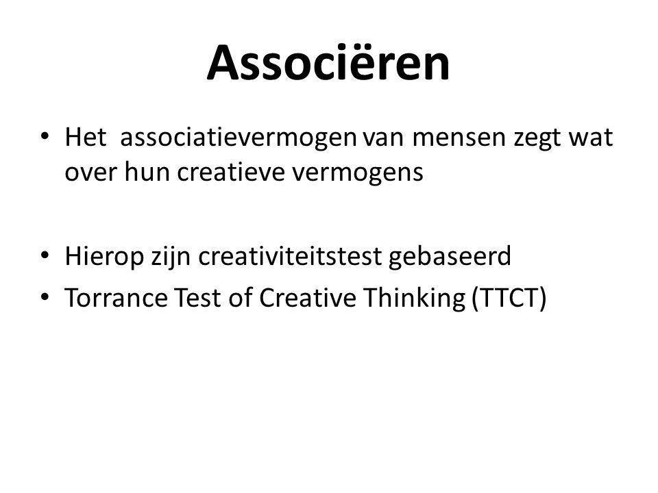 Associëren Het associatievermogen van mensen zegt wat over hun creatieve vermogens. Hierop zijn creativiteitstest gebaseerd.