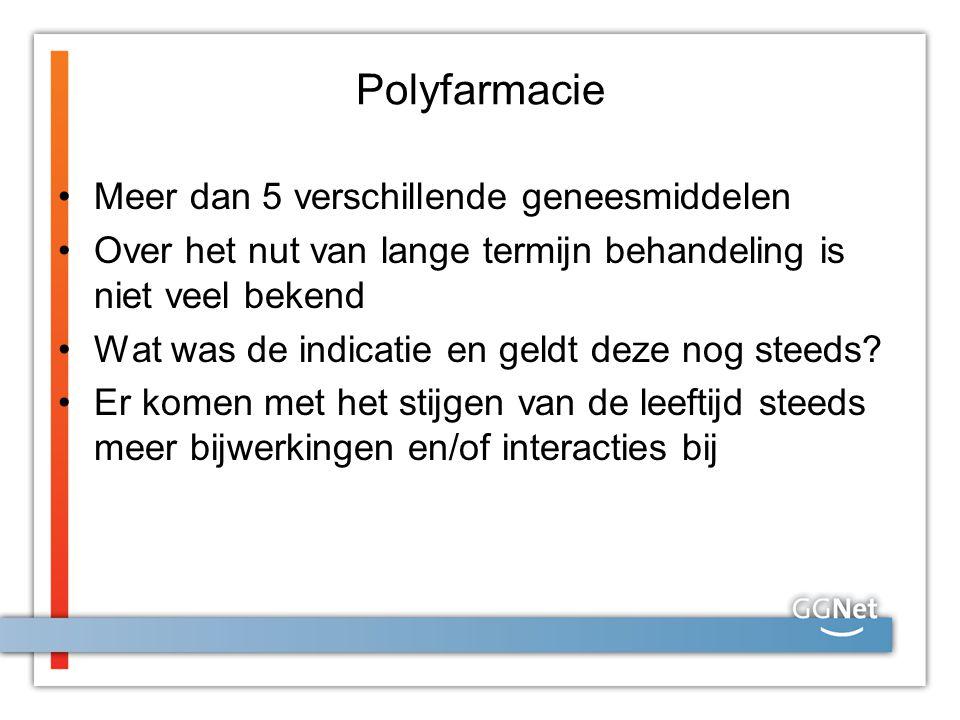 Polyfarmacie Meer dan 5 verschillende geneesmiddelen