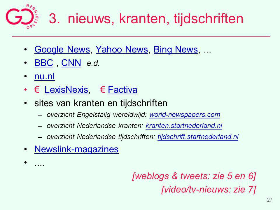 3. nieuws, kranten, tijdschriften