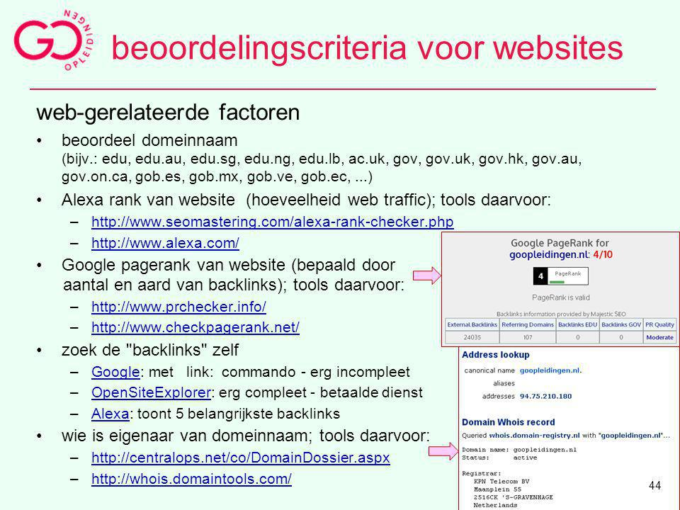 beoordelingscriteria voor websites