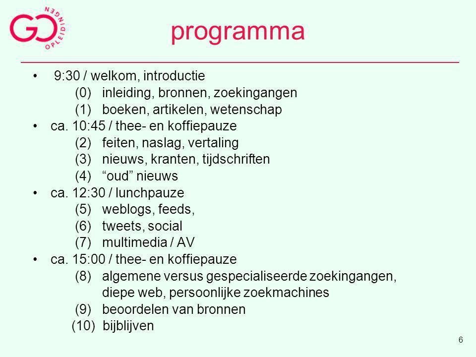programma 9:30 / welkom, introductie