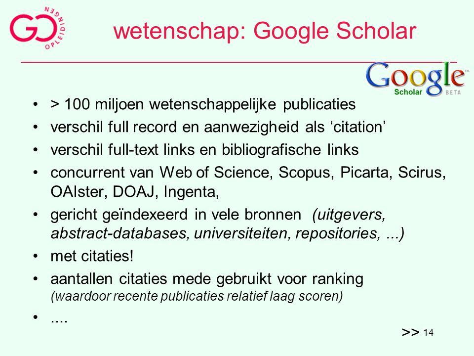 wetenschap: Google Scholar