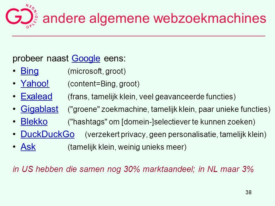 andere algemene webzoekmachines