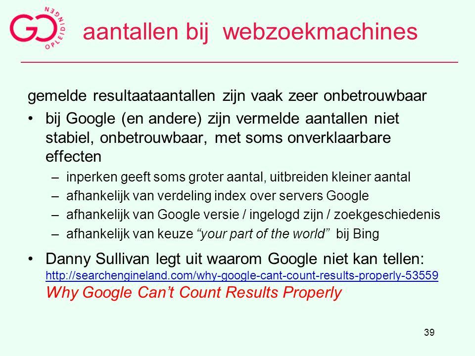 aantallen bij webzoekmachines