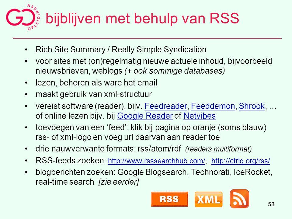 bijblijven met behulp van RSS