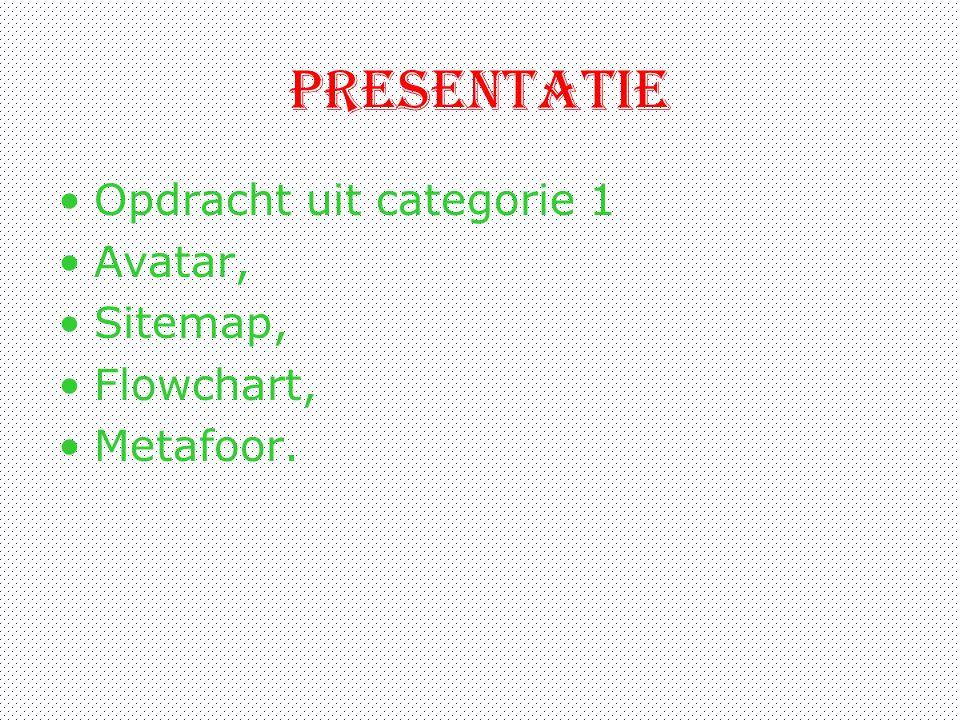 presentatie Opdracht uit categorie 1 Avatar, Sitemap, Flowchart,