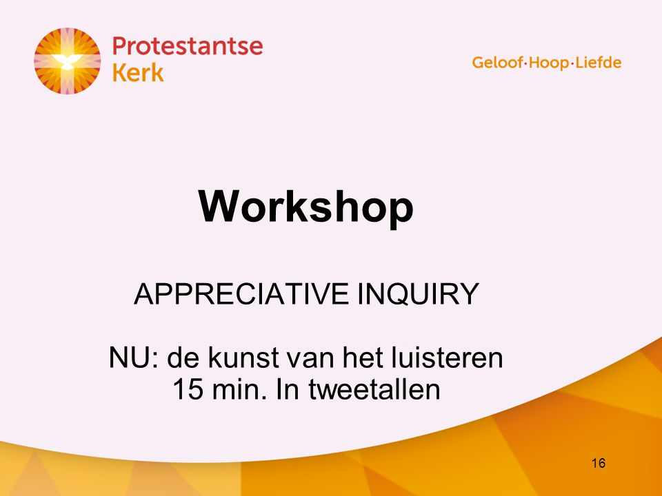 Workshop APPRECIATIVE INQUIRY NU: de kunst van het luisteren 15 min