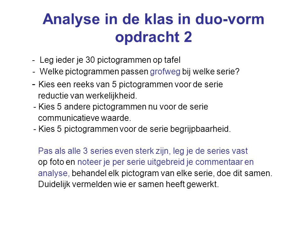 Analyse in de klas in duo-vorm opdracht 2