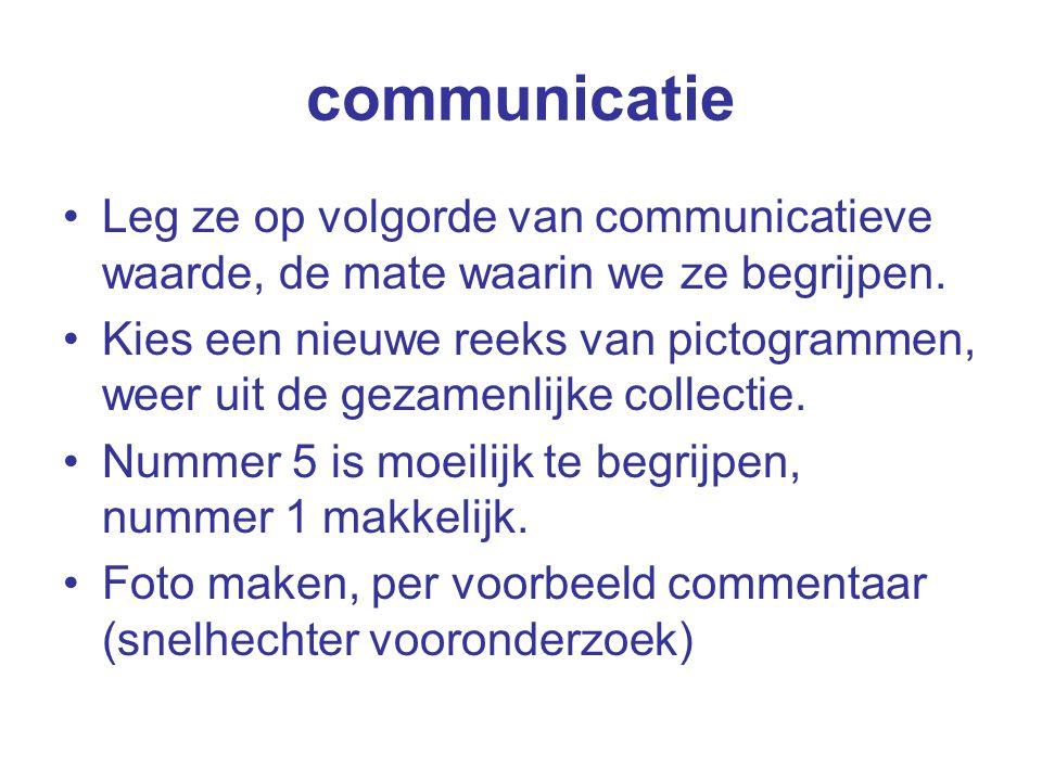 communicatie Leg ze op volgorde van communicatieve waarde, de mate waarin we ze begrijpen.