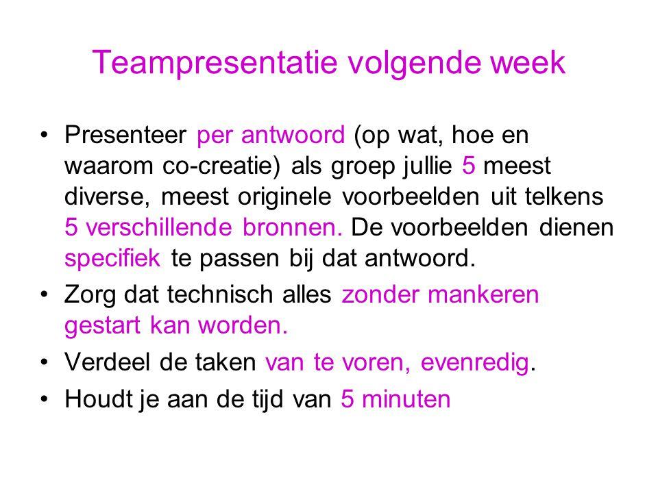 Teampresentatie volgende week