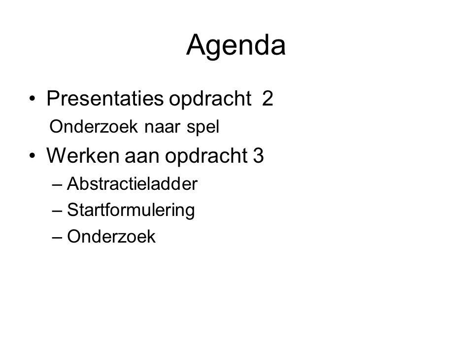 Agenda Presentaties opdracht 2 Werken aan opdracht 3