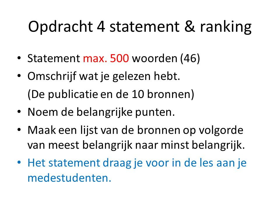 Opdracht 4 statement & ranking