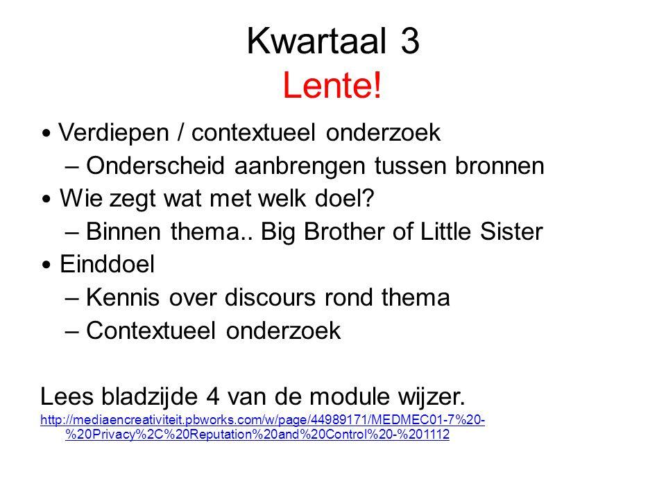 Kwartaal 3 Lente! • Verdiepen / contextueel onderzoek