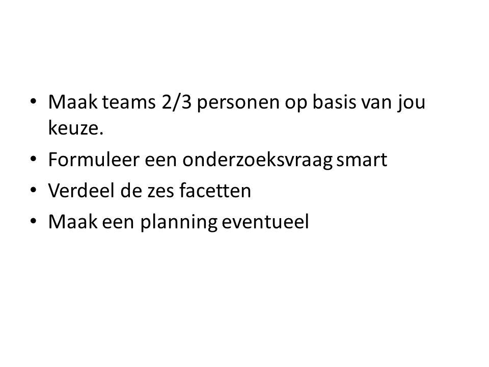 Maak teams 2/3 personen op basis van jou keuze.