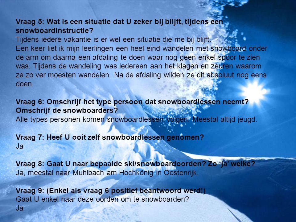 Vraag 5: Wat is een situatie dat U zeker bij blijft, tijdens een snowboardinstructie