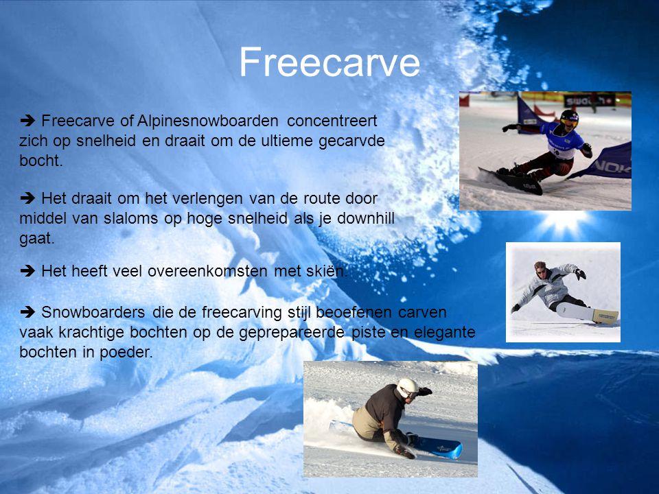 Freecarve  Freecarve of Alpinesnowboarden concentreert zich op snelheid en draait om de ultieme gecarvde bocht.