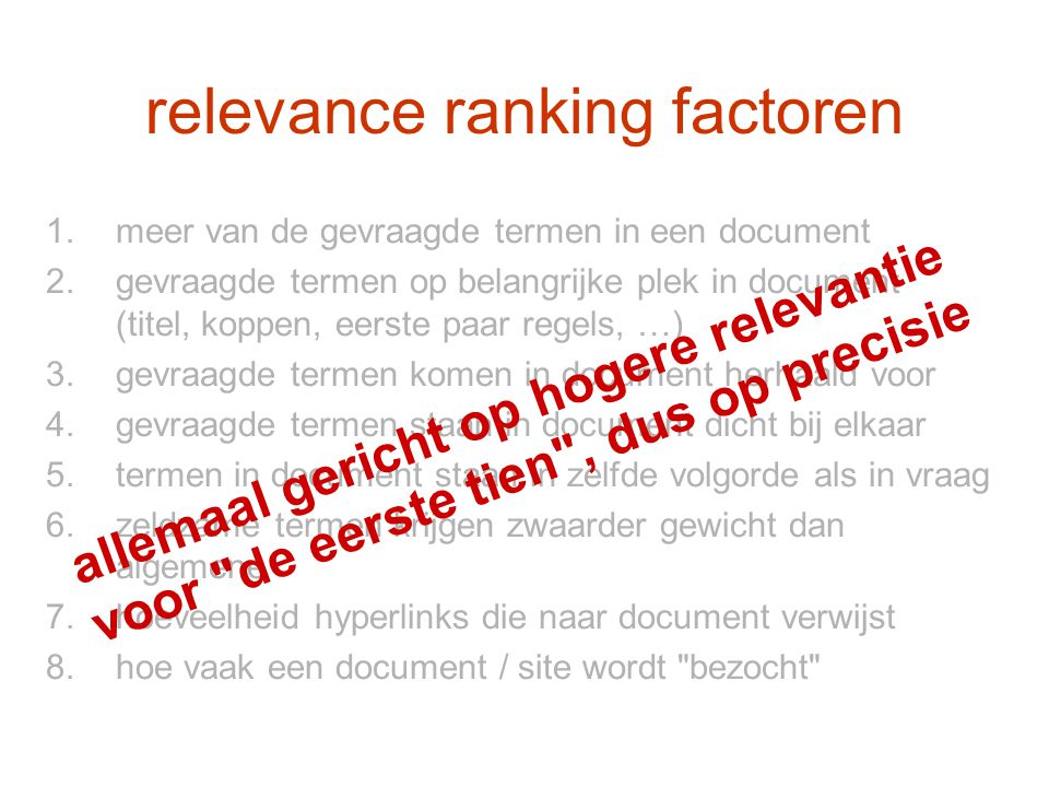 relevance ranking factoren