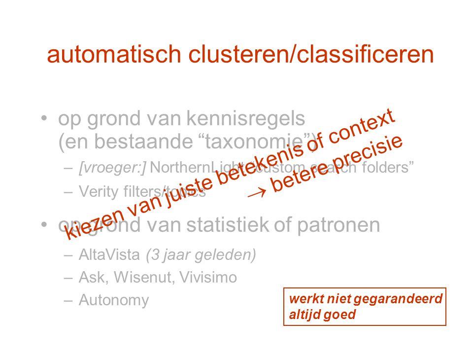 automatisch clusteren/classificeren