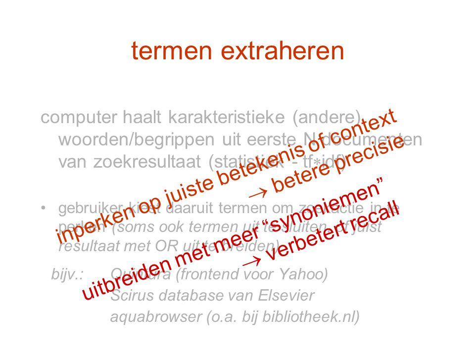 termen extraheren inperken op juiste betekenis of context