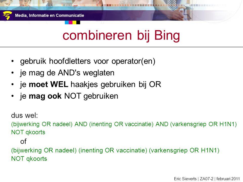 combineren bij Bing gebruik hoofdletters voor operator(en)