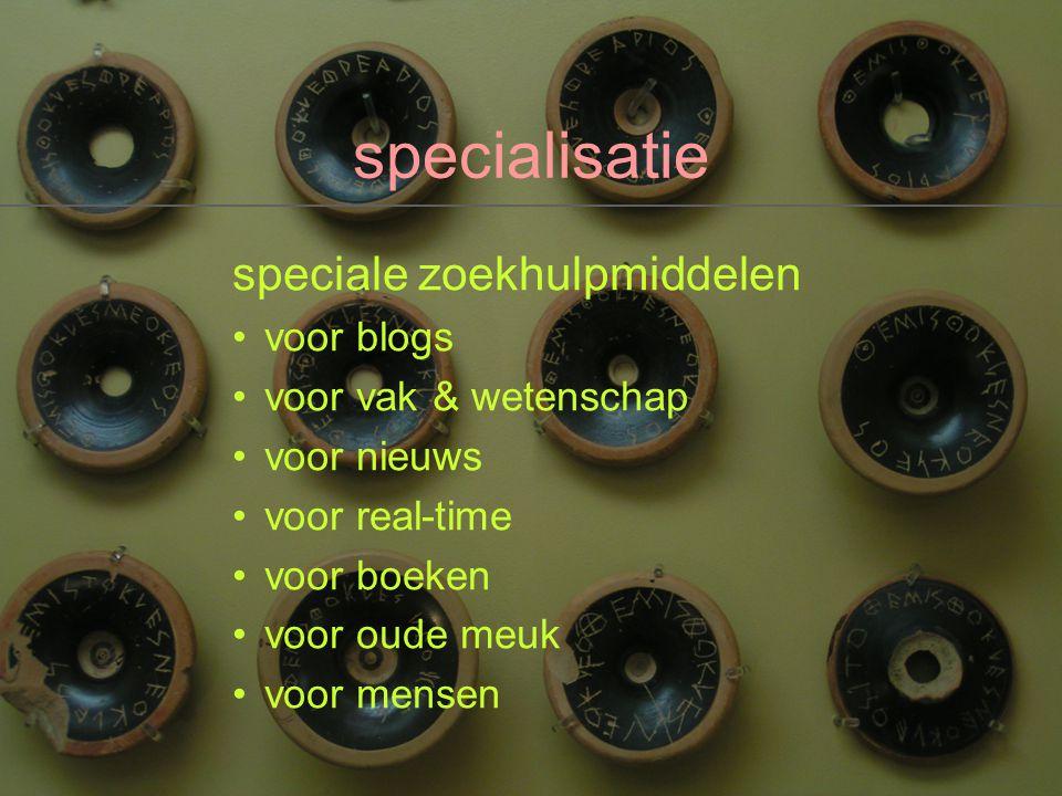 specialisatie speciale zoekhulpmiddelen voor blogs