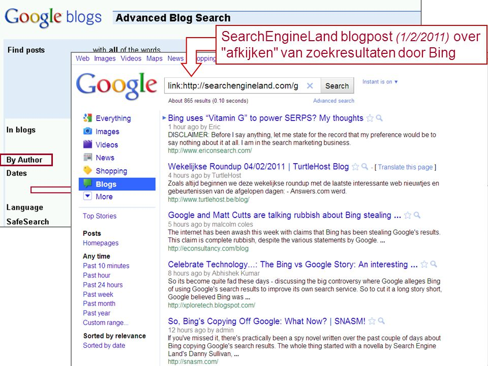 SearchEngineLand blogpost (1/2/2011) over
