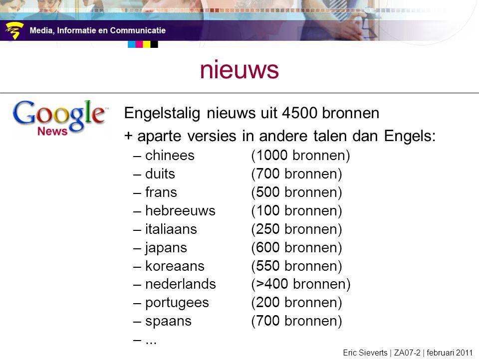 nieuws + aparte versies in andere talen dan Engels: