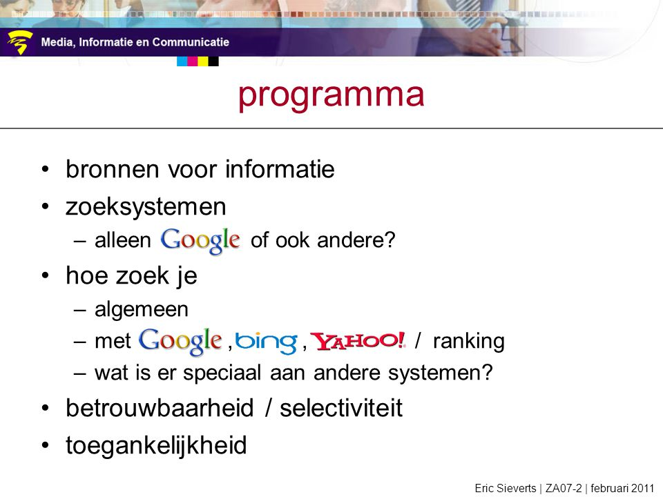 programma bronnen voor informatie zoeksystemen hoe zoek je